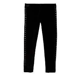 bluezoo - Girls' black velvet studded leggings