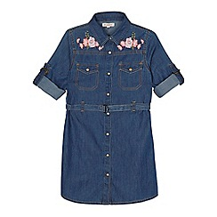 bluezoo - Girls' blue floral embroidered denim shirt dress