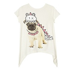 bluezoo - Girls' white pug dinosaur print top