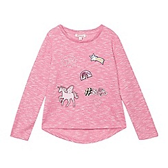 bluezoo - Girls' pink long sleeve unicorn applique top