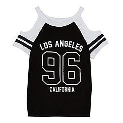 bluezoo - Girls' black 'Los Angeles' print cold shoulder top