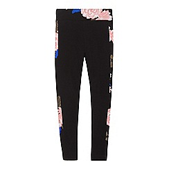 bluezoo - Girls' black floral print trim leggings