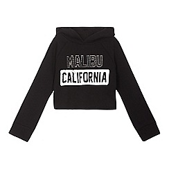 bluezoo - Girls' black diamante 'Malibu California' print hoodie