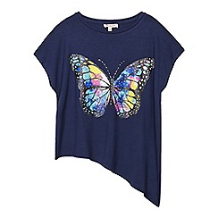 bluezoo - Girls' navy butterfly print top