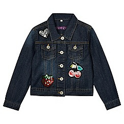bluezoo - Girls' dark blue badged denim jacket
