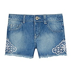 bluezoo - Girls' light blue embroidered denim shorts