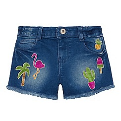 bluezoo - Girls' blue denim tropical embroidered shorts
