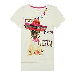 bluezoo - Girls' white Mexican pug print t-shirt