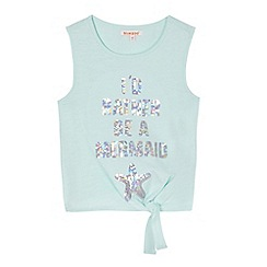 bluezoo - Girls' light green 'I'd Rather Be A Mermaid' sequinned embellished top