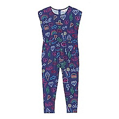 bluezoo - Girls' navy neon sign print jumpsuit
