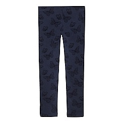 bluezoo - Girls' navy textured butterfly leggings