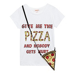 bluezoo - Girls' white pizza slogan t-shirt and matching bag set