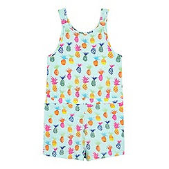 bluezoo - Girls' light green pineapple print playsuit