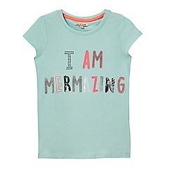 bluezoo - Girls' light green 'I am mermazing' embellished t-shirt