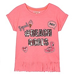 bluezoo - Girls' pink 'Beach Goals' sequinned embellished t-shirt