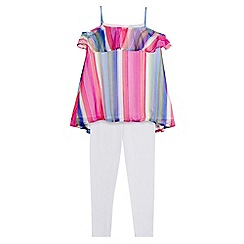 bluezoo - Girls' multi-coloured striped frilled top and white leggings set