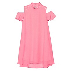 bluezoo - Girls' pink embellished trapeze dress