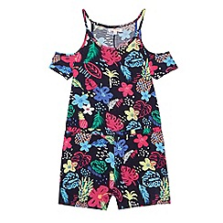 bluezoo - Girls' multi-coloured tropical print playsuit