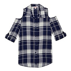 bluezoo - Girls' navy checked cold shoulder shirt