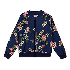 bluezoo - Girls' navy floral print bomber jacket