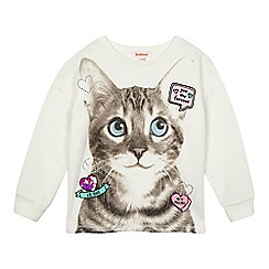 bluezoo - Girls' cream cat print sweater