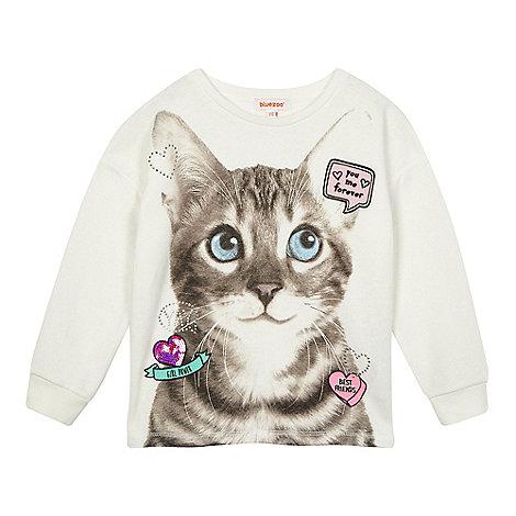 bluezoo - Girls+ cream cat print sweater