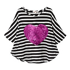 bluezoo - Girls' black and white striped sequinned heart cape top
