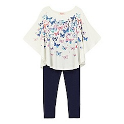 bluezoo - Girls' cream butterfly print cape top and navy leggings set