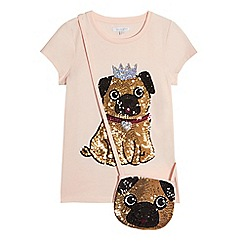 bluezoo - Girls' Pink Sequin Pug T-Shirt and Bag Set