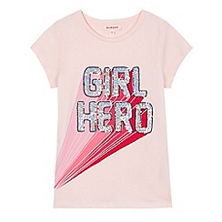 bluezoo - Girls' pink 'Girl Hero' sequinned embellished t-shirt