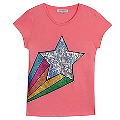 bluezoo - Girls' pink sequinned shooting star t-shirt