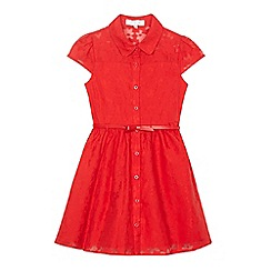J by Jasper Conran - Girls' red floral burnout belted shirt dress