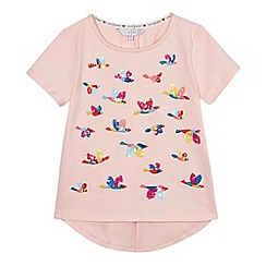 J by Jasper Conran - Girls' light pink sequinned embellished bird t-shirt