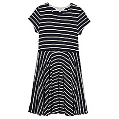 J by Jasper Conran - Girls' navy stripe print jersey dress