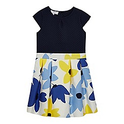 J by Jasper Conran - Girls' blue woven floral print dress
