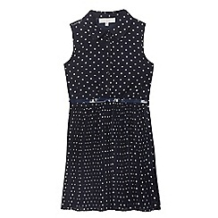 J by Jasper Conran - Girls' navy dot print shirt dress