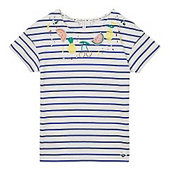 J by Jasper Conran - Girls' multi-coloured fruit applique stripe print t-shirt