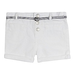 J by Jasper Conran - Girls' white denim belted shorts