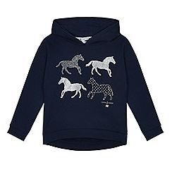 J by Jasper Conran - Girls' navy horse print hoodie