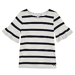 J by Jasper Conran - Girls' white and navy striped fluted sleeved top