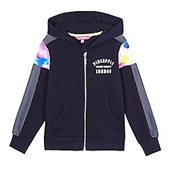 Pineapple - Girls' navy mesh panel zip hoodie