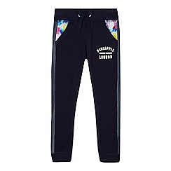 Pineapple - Girls' navy mesh panel jogging bottoms