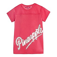 Pineapple - Girls' pink mesh panel top