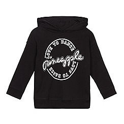 Pineapple - Girls' black diamante detail logo hoodie