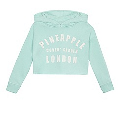 Pineapple - Girls' aqua blue oversized crop hoodie