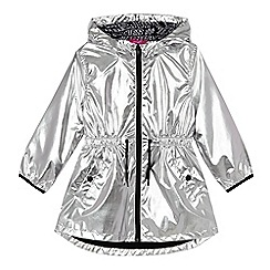 Pineapple - Girls' silver shiny hooded coat