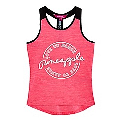 Pineapple - Girls' pink foil-effect logo print vest top
