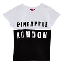 Pineapple - Girls' black and white colour block logo top