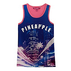Pineapple - Girls' pink and blue city scene vest top
