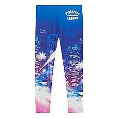 Pineapple - Girls pink and blue city scene print leggings